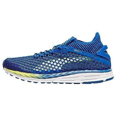 aba31efe2b5be8 Puma Men s Speed Ignite Netfit 2 Turkish Sea White-Fizzy Yellow Running  Shoes-10