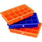 DecoBros 3 Pack Silicone Cube Ice Tray (2 Orange / 1 Blue)