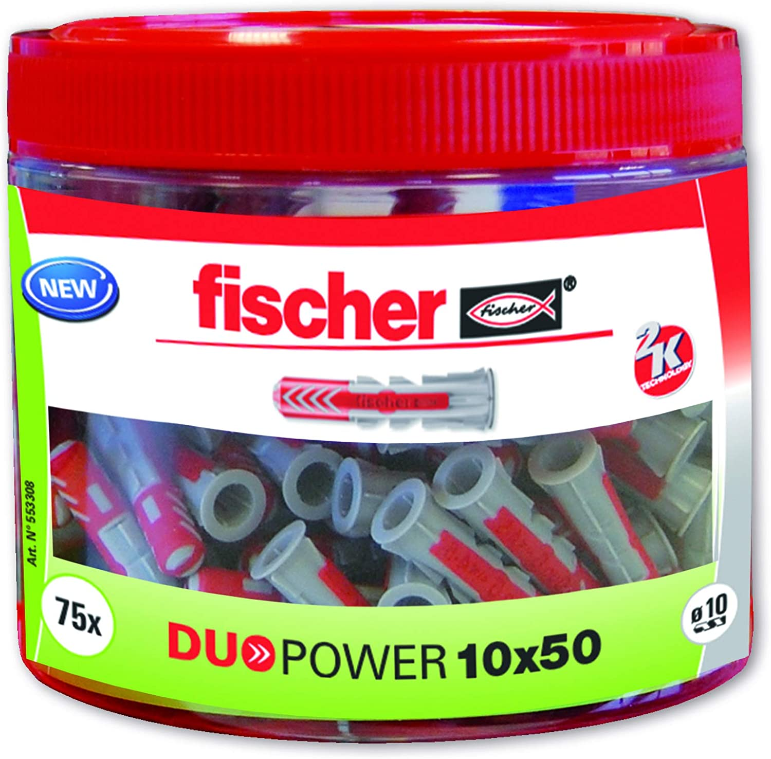 Fischer 553308 75 Units Duopower Cue 10 x 50 Round Box Bottle 75 Units