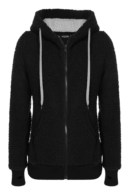 ACEVOG Womens Full Zip Long Sleeve Fleece Hoodie Jackets