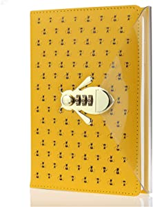 Mazeran Bee Shaped Combination Lock Journal, PU Leather Hard Cover Notebook Cute Diary, A5 Lined Password Locking Personal Planner Secret Organizer Gift for Girls Women Daughter