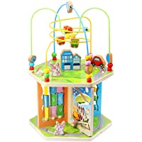 ZONXIE Wooden 7 in 1 Baby Activity Play Cube Bead Maze Toys Activity Center for Babies Toddlers Educational Early…