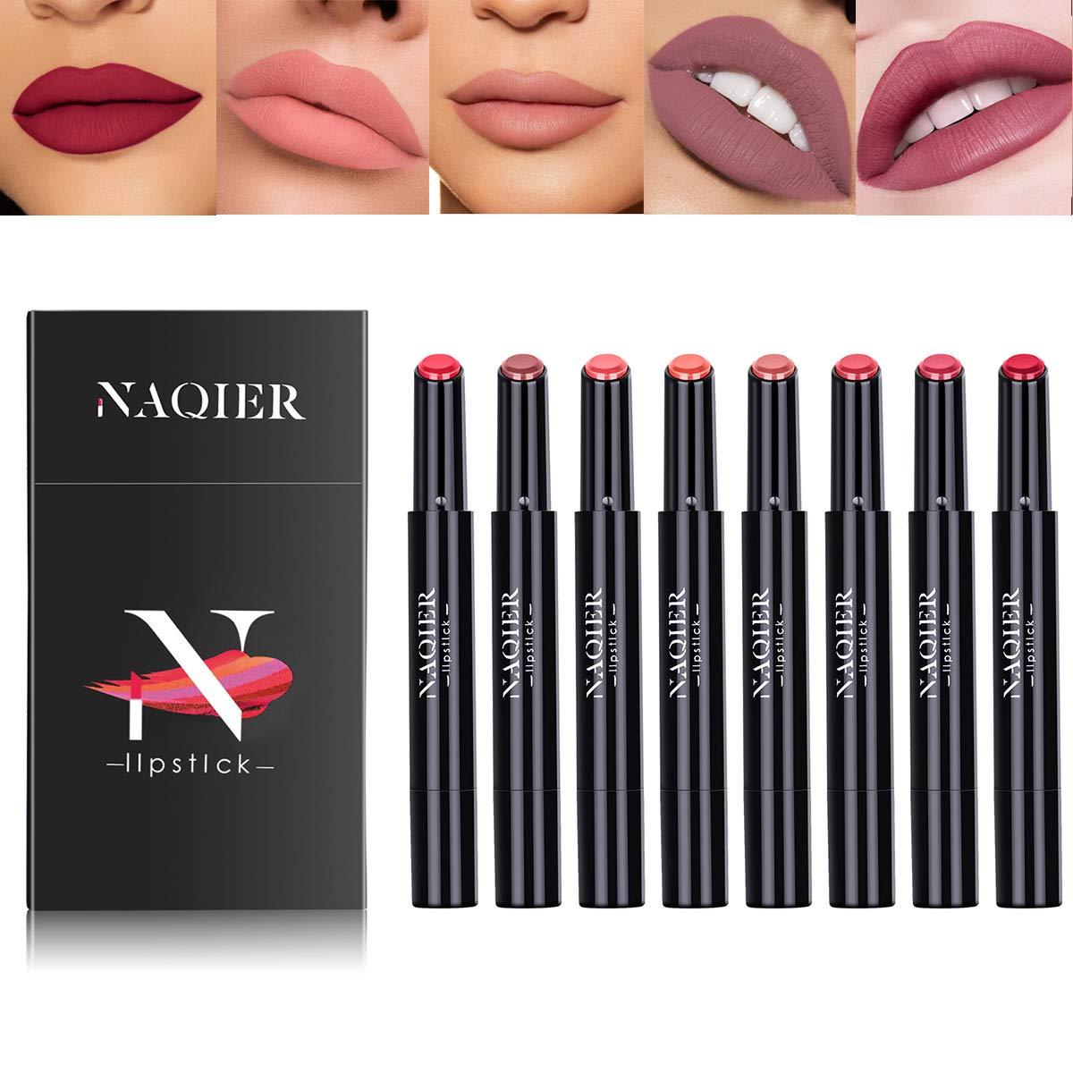 NAQIER Matte Lipstick Set, 8PCS Nude Moisturizer Smooth Lip Stick, Waterproof liquid lipstick mate Make up Velvet lip gloss Cosmetic by NAQIER (Image #1)