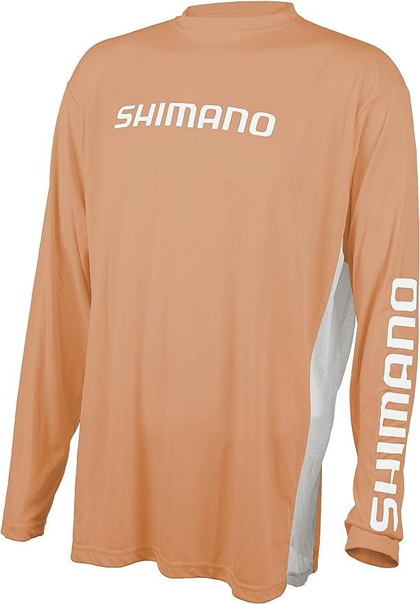 SHIMANO Long Sleeve Tech Tee Fishing Gear, Citrus, Large: Amazon ...