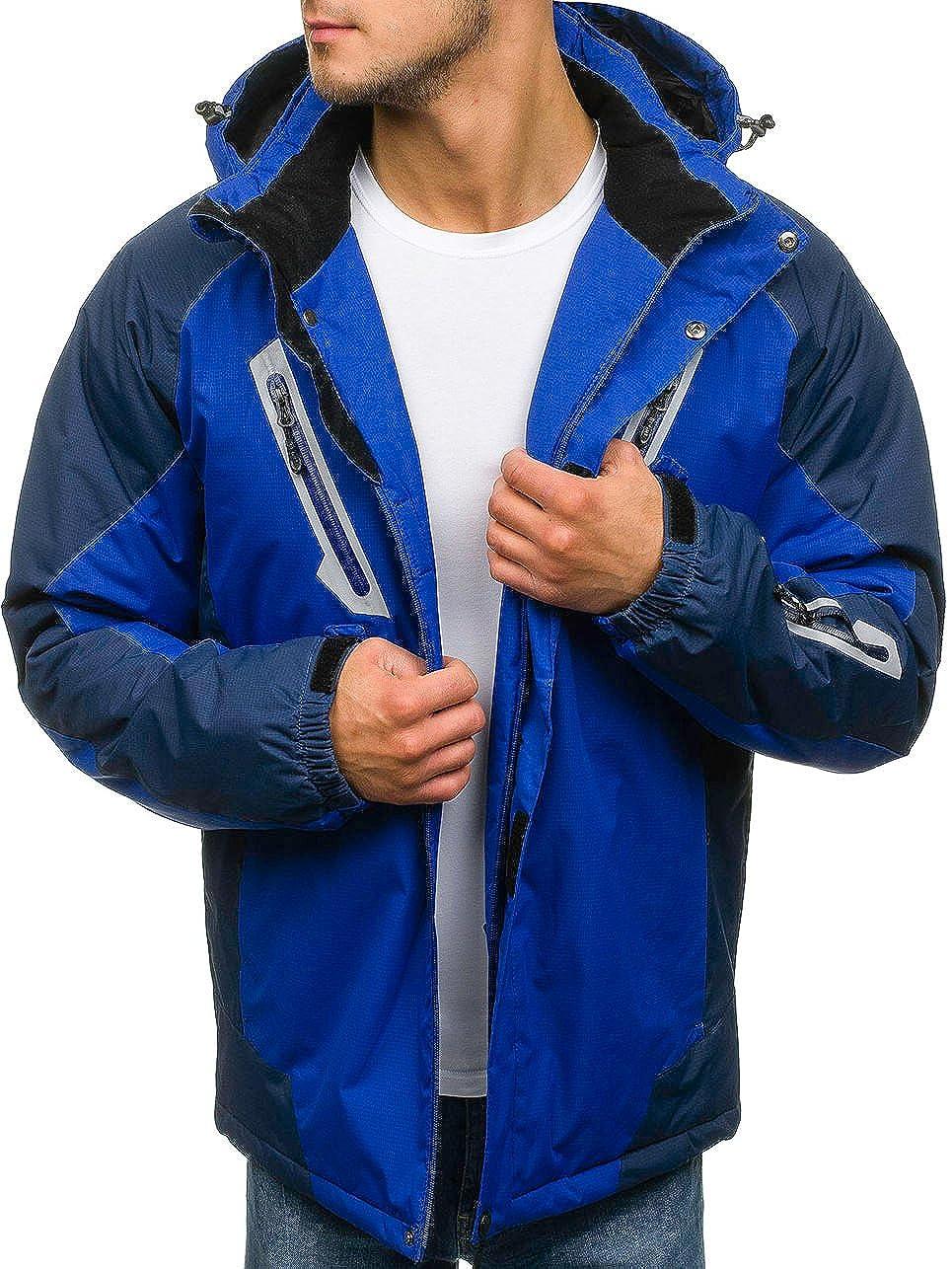 BOLF Homme Veste de Ski Veste dhiver Blousons Fermeture /éclair et Bouton-Pression Sportif Motif 4D4