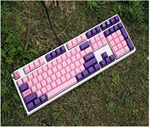 Keycaps 1 Set of Profile Keycaps for MX Switch Mechanical Keyboard Pink Keycaps (Color : 104 Keys)