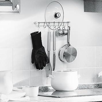 HOMFA Porta Utensili da Cucina in Acciaio Inox con 7 Ganci, 38cm ...