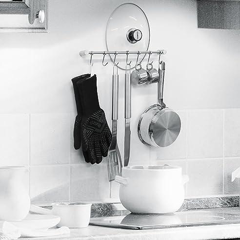 homfa kchenreling edelstahl kchenreling kchenrelingsystem kchenutensilien hngeleiste kchenhelfer mit 7 haken pfannehalter tassenhalter rostfrei - Einfache Dekoration Und Mobel Kuchenutensilien Mit Schickem Design