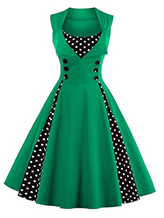 Women Robe Pin Up Dress Retro New Vintage 50s 60s Rockabilly Dot Swing Summer Elegant Tunic