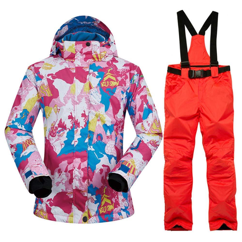 Rosa rot Orange rot XL SHUHANX Regenjacken Skianzug Für Männer Dicke Warme Winddichte wasserdichte Skijacke Outdoor-Sport Schneejacken Und Hosen Winter Skifahren Snowboardjacke