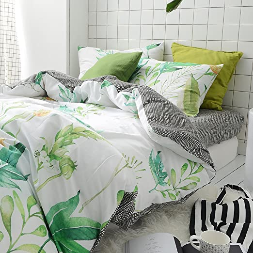 MKXI Green and White Tropical Duvet Cover Set Black White Grids Reversible  Bedding Set Simple Natural Bedroom Bed Set Floral Design Queen Size