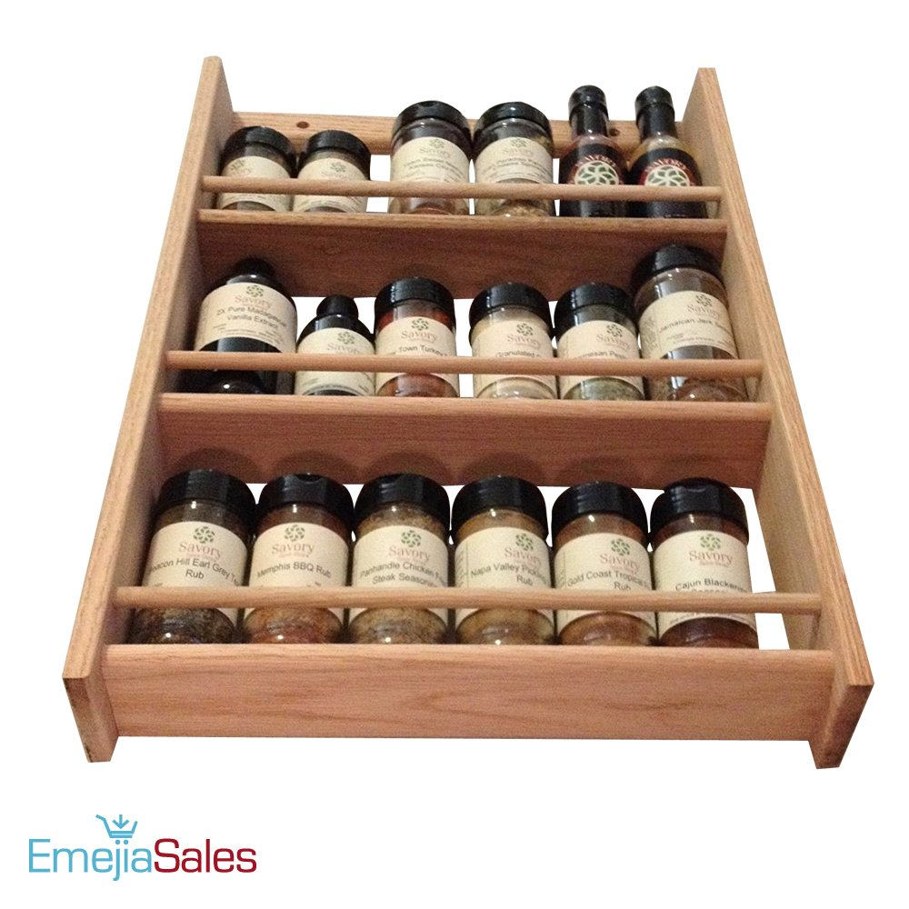 EmejiaSales Oak Spice Rack Wall Mount Organizer (3-Shelf Design), Hanging Natural Wood Country Rustic Style, Great Storage for Pantry and Kitchen - Holds 18 Herb Jars by EmejiaSales (Image #3)