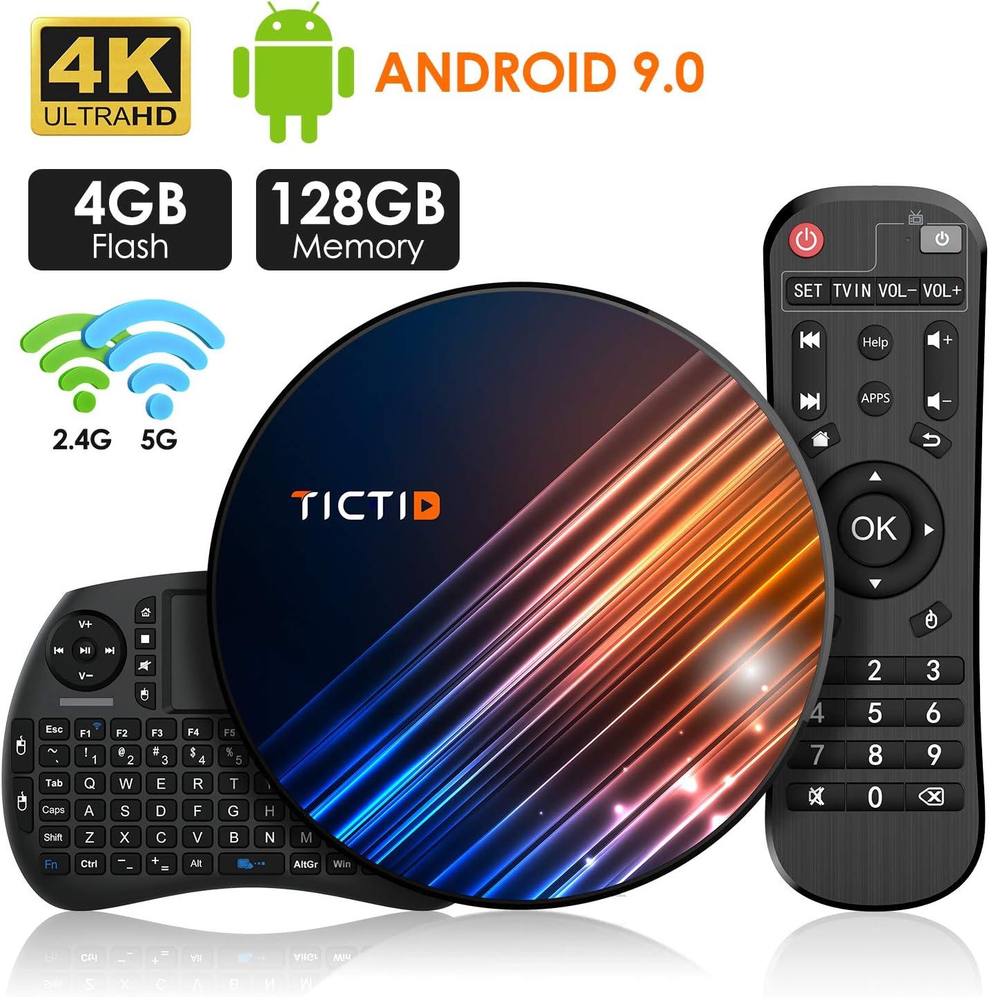 Android 9.0 TV Box 【4G+128G】con Mini Teclado inalámbirco RK3318 ...