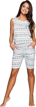 TARO Pijamas Mujer Verano Manga Corta Conjunto de Pijama para Mujer 2 Piezas de Ropa de Dormir Algodón Suave