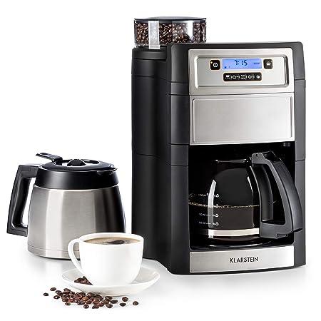 Klarstein Aromatica II Duo máquina de café con molinillo conico - Máquina de café con filtro, 1000 W, Jarra de vidrio 1,25 litros, Programable 24 ...