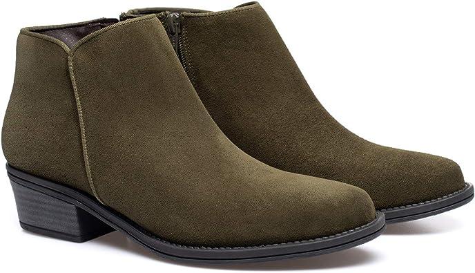 Basic Botines tacón bajo de Piel Verde Kaki: Amazon.es: Zapatos y ...
