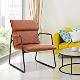 ALPHA HOME Living Room Accent Chair Sofa Chair Lounge Chair with Metal Leg for Home Office Study Living Room Vanity Bedroom,Deep Brown,Delivered Within 3-5 Working Days