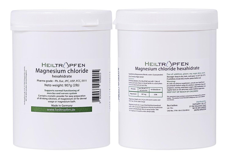 Cloruro de Magnesio 907g, Hexahidrato, Grado Farmacéutico, Polvo de Cristal, Pure Ph. Eur., BP, USP, 100% Comestible - Alivio del Dolor Muscular: Amazon.es: ...