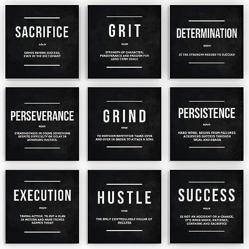 9x Motivational Wall Art Office Decor Canvas Prints Entrepreneur Bundle Set 9 Piece Inspirational Definition Verb Noun Modern Art 9x