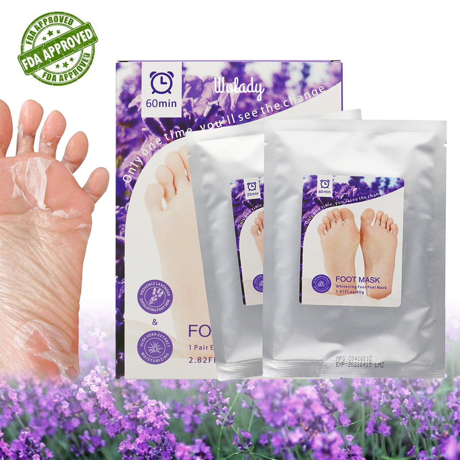 Foot Peeling Mask, Wolady Foot Exfoliating Mask/Whitening and Moisturizing Mask, Peeling Off Calluses & Dead Skin, Making Your Feet White and Smooth(2 pairs)