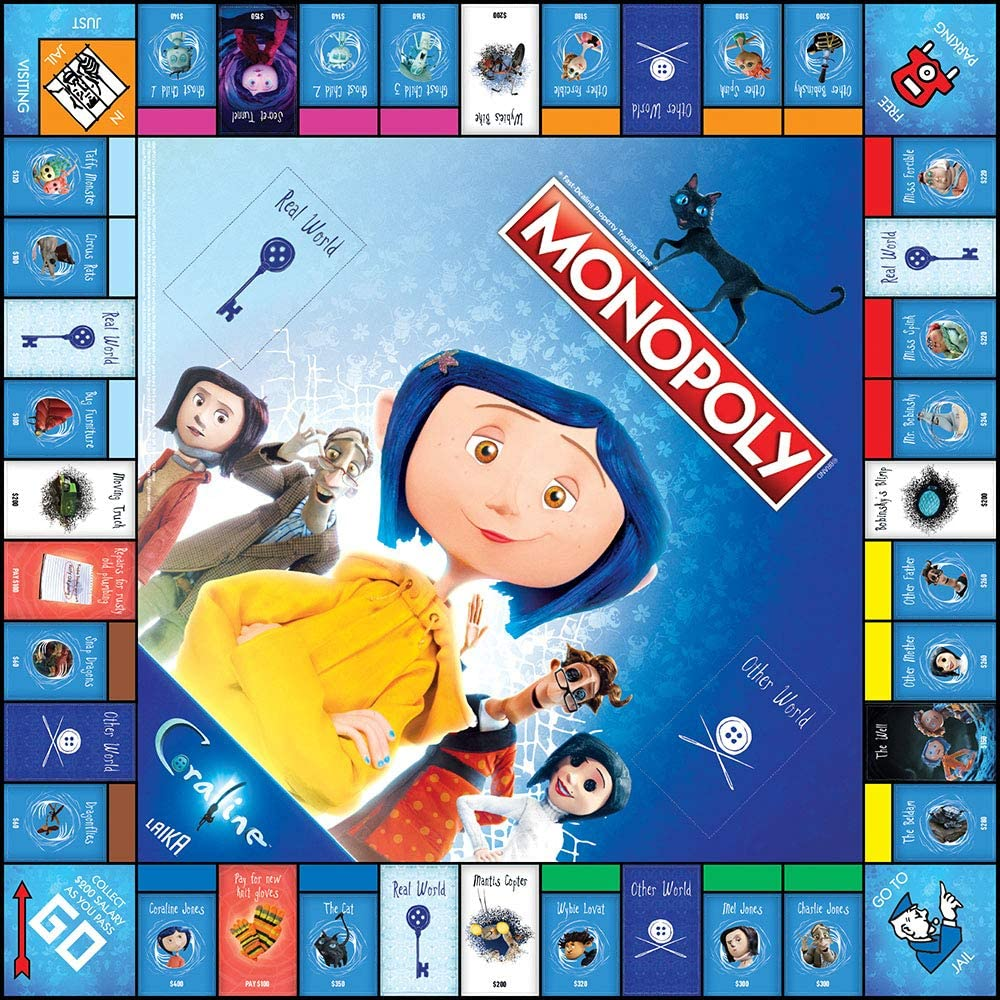 Amazon Com Monopoly Coraline Board Game Based On The Film From Acclaimed Studio Laika Officially Licensed Coraline Merchandise Themed Classic Monopoly Game Toys Games