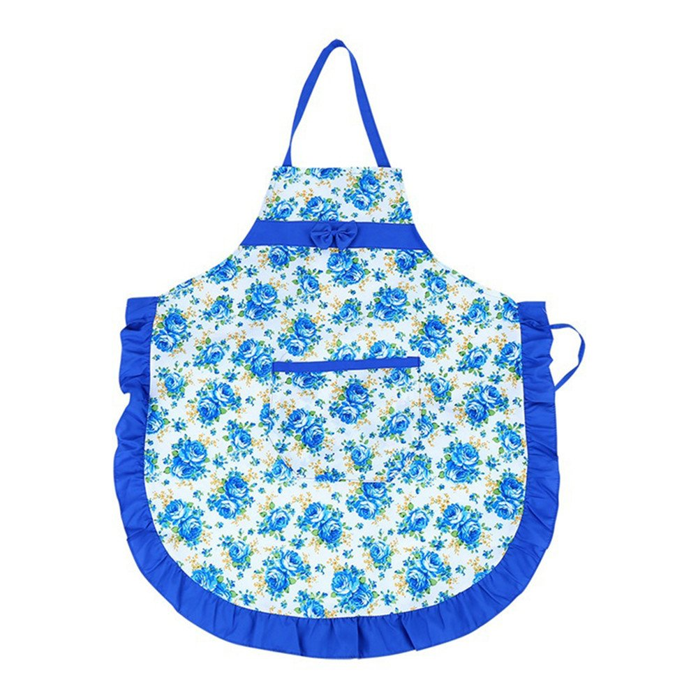Honghong女性レディース花柄エプロンwithポケットホームキッチン料理エプロン One Size ブルー Honghong-1  ブルー B0761S8S7J