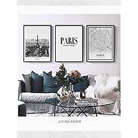 AKLIG Cuadros Lienzo de Pintura París romántica para la Sala de Estar Dormitorio Cocina, 50 cm x 70 cm x 3 Piezas (sin Marco)