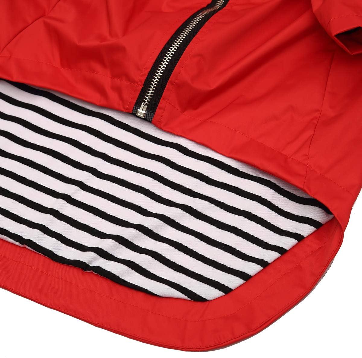 Size XS to XXL Available L Dog Zip Up Dog Raincoat with Hood,Rain//Water Resistant,Adjustable Drawstring,Pocket Design,Stylish Dog Raincoats Red