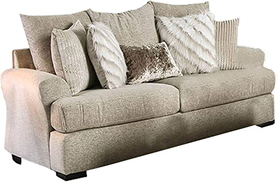 Amazon.com: Benjara Polyester Upholstered Wooden Sofa With Loose Back Pillow, Beige: Furniture & Decor