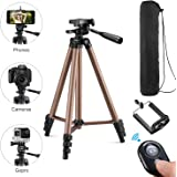 Kwithan 50 Inch Aluminum iPhone Tripod, Video Tripod for Cellphone and Camera, Universal Tripod, with Wireless Remote & Cellphone Holder Mount for iPhone 8/8 Plus/X/7/7 Plus/Galaxy