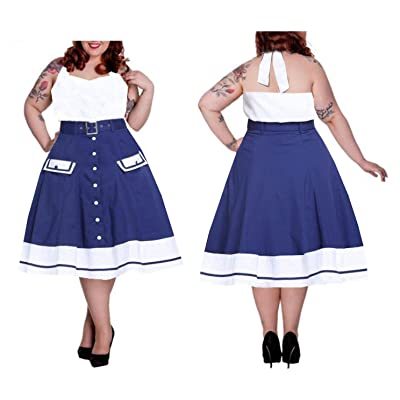50s Flared Black or Blue/White Sailor Plus Size Belt Swing Skirt 18-28