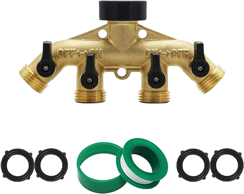 "Splittars 4 Way Garden Hose Splitter 100% Solid Brass Outdoor Faucet Spigot Splitter, Water Hose Splitter, Hose Manifold, 4 outlets, independent on/off valves, 4 rubber washers, 3/4"" Hose Connector"
