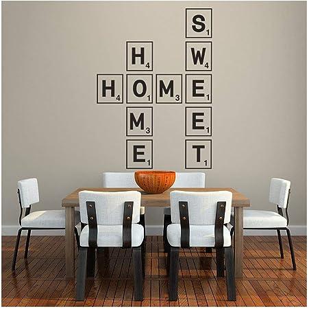 azutura Hogar Dulce hogar Vinilos Azulejo del Scrabble Pegatina Decorativos Pared Sala de Estar Decoración Disponible en 5 tamaños y 25 Colores X-Grande Blanco: Amazon.es: Hogar