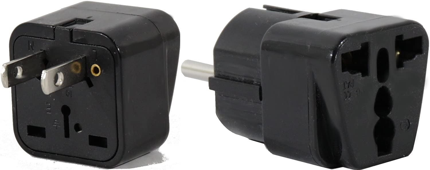 PERU Travel Adapter Plug for USA//Universal to South America Type A /& E AC Power Plugs Pack of 2 C//F