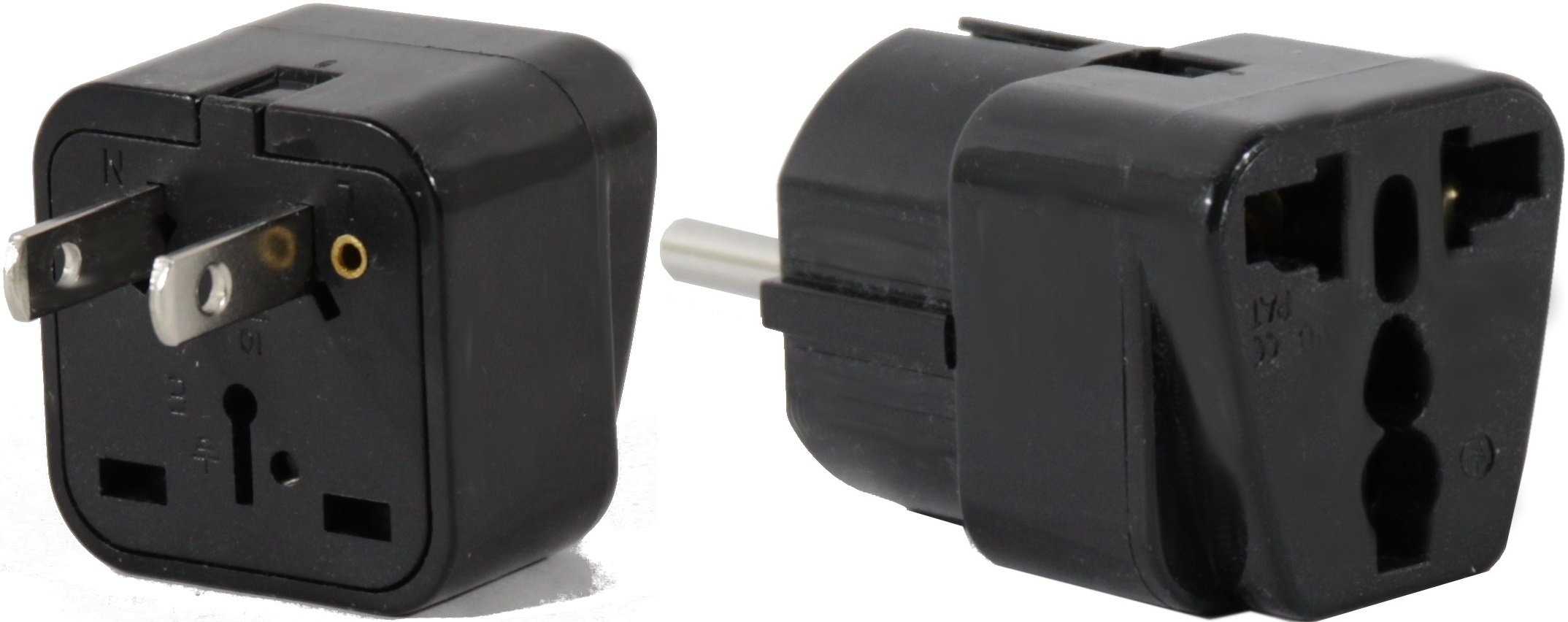PERU Travel Adapter Plug for USA/Universal to South America Type A & E (C/F) AC Power Plugs Pack of 2 by Plug in Solutions (Image #1)