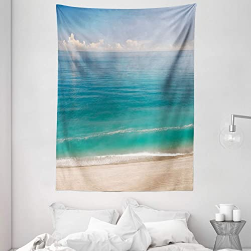 Ambesonne Ocean Tapestry, Quiet Tranquil Beach Greenish Water Under Blue Sky Seascape Image Print, Wall Hanging for Bedroom Living Room Dorm, 60 X 80 , Turquoise Blue Ivory