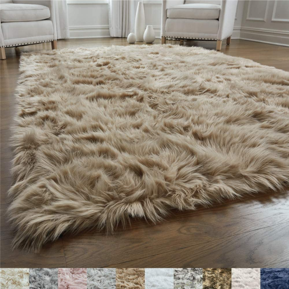 Gorilla Grip Original Premium Faux Fur Area Rug, Soft Living Room Area Rug, 5x7, Bedroom Floor Rugs, Softest Feeling Carpet, Best Touch, Luxury Modern Room Décor, Rectangle, Beige