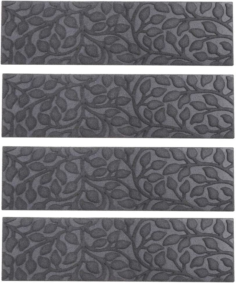"""Comme Rug Stair Treads with Rubber Backing,Non-Slip,Indoor Outdoor Step treads Waterhog,Set of 6, Grey,8.5"""" x 30"""""""