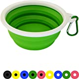 Zenify Dog Bowl - 400ml Collapsible Foldable Food and Water Feeder Dish - Portable Travel Leash Lead Slim Accessories for Training Pets Puppy Dogs (5 inches / 12.7 cm) (Green/White)