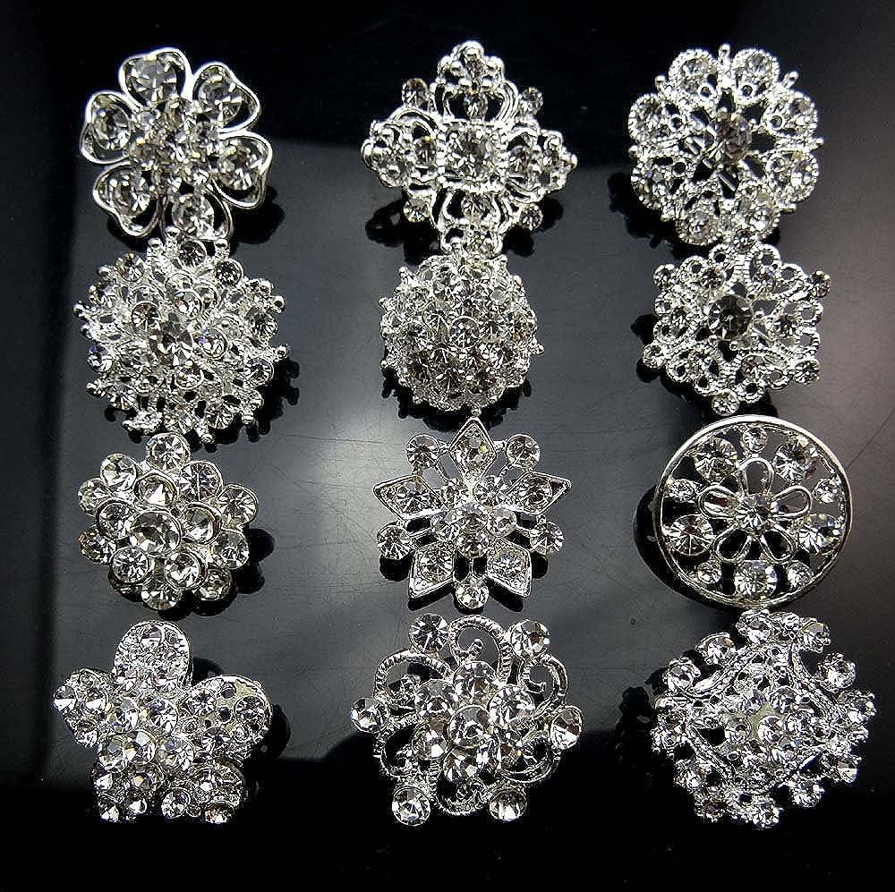 12px Small Size Silver Wedding Bridal Crystal Brooches Rhinestone Brooch Flower Corsage Bouquet Decor B014ZDBNUI_US