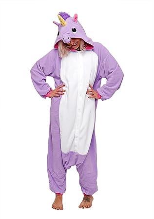 Unicornio púrpura - Todo en un disfraz para adultos - Onesie Kigurumi
