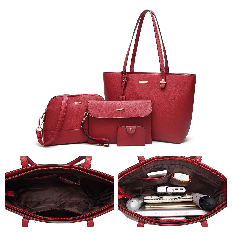 ELIMPAUL Women Fashion Handbags Tote Bag Shoulder Bag Top Handle Satchel Purse Set 4pcs by ELIMPAUL (Image #5)