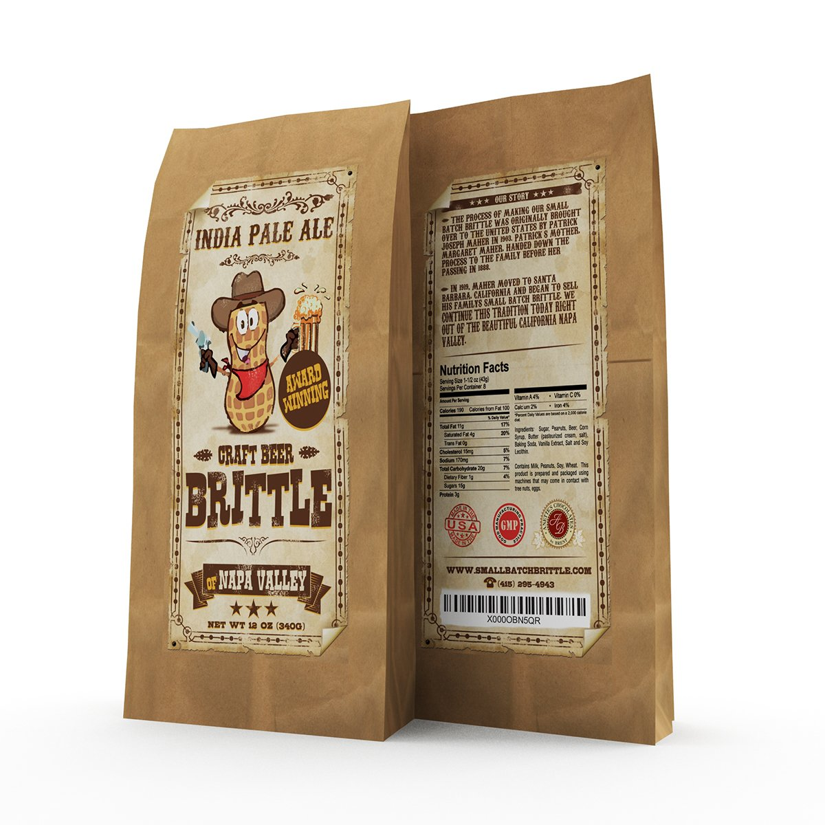 Award Winning Gourmet Beer Brittle - An IPA Beer Brittle Made In Napa Valley, California - Hands Down, The Greatest Tasting Peanut Brittle Your Mouth Has Ever Tasted.