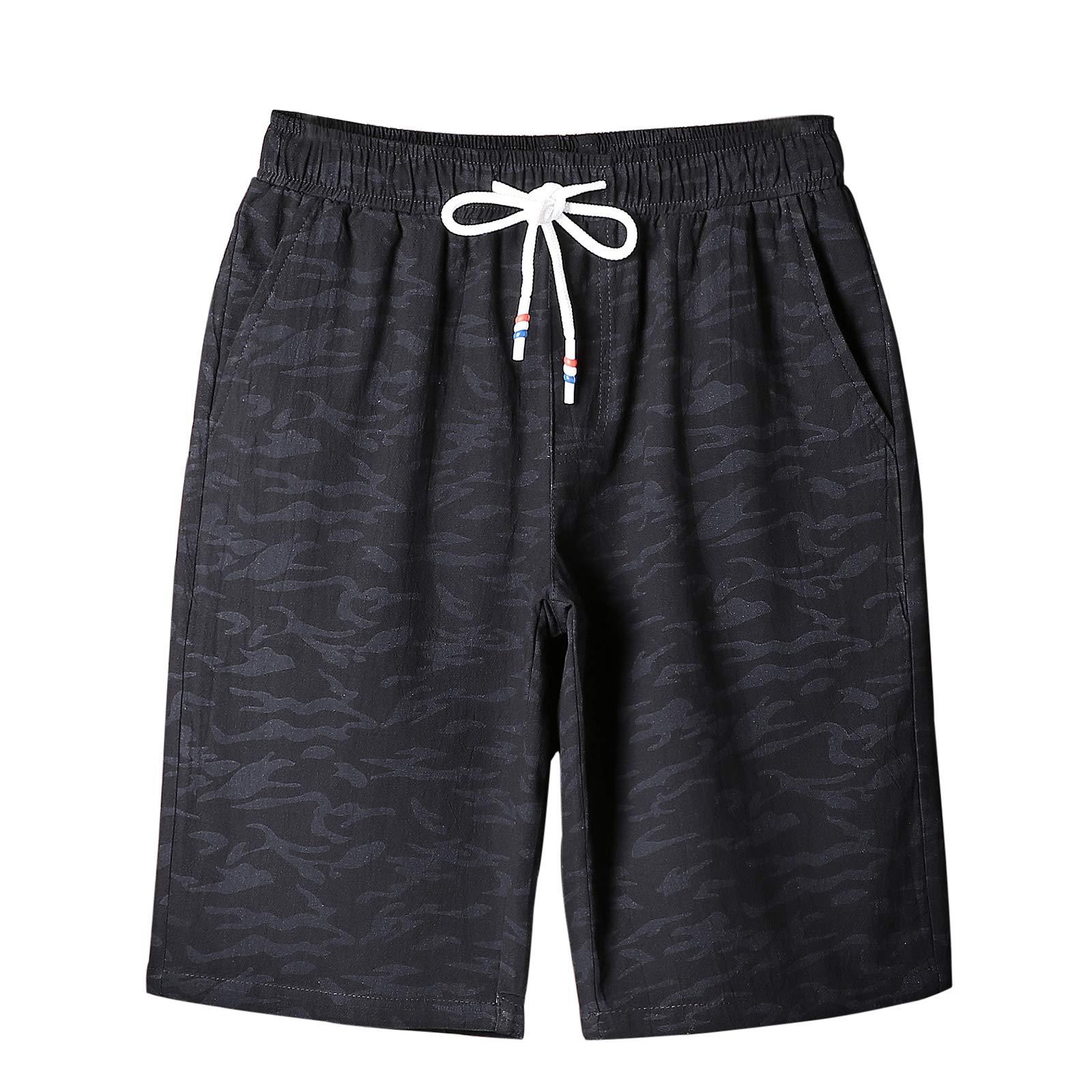 Rainbow Cloud 100% Cotton Fashion Camouflage Shorts for Men (US-XL, Black)