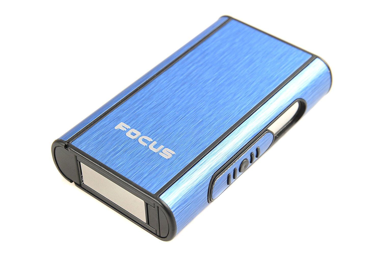 Focus Portasigarette automatico di alluminio (9.5cm x 5.7cm x 1.8cm), blu, Mod. 464-03 DE