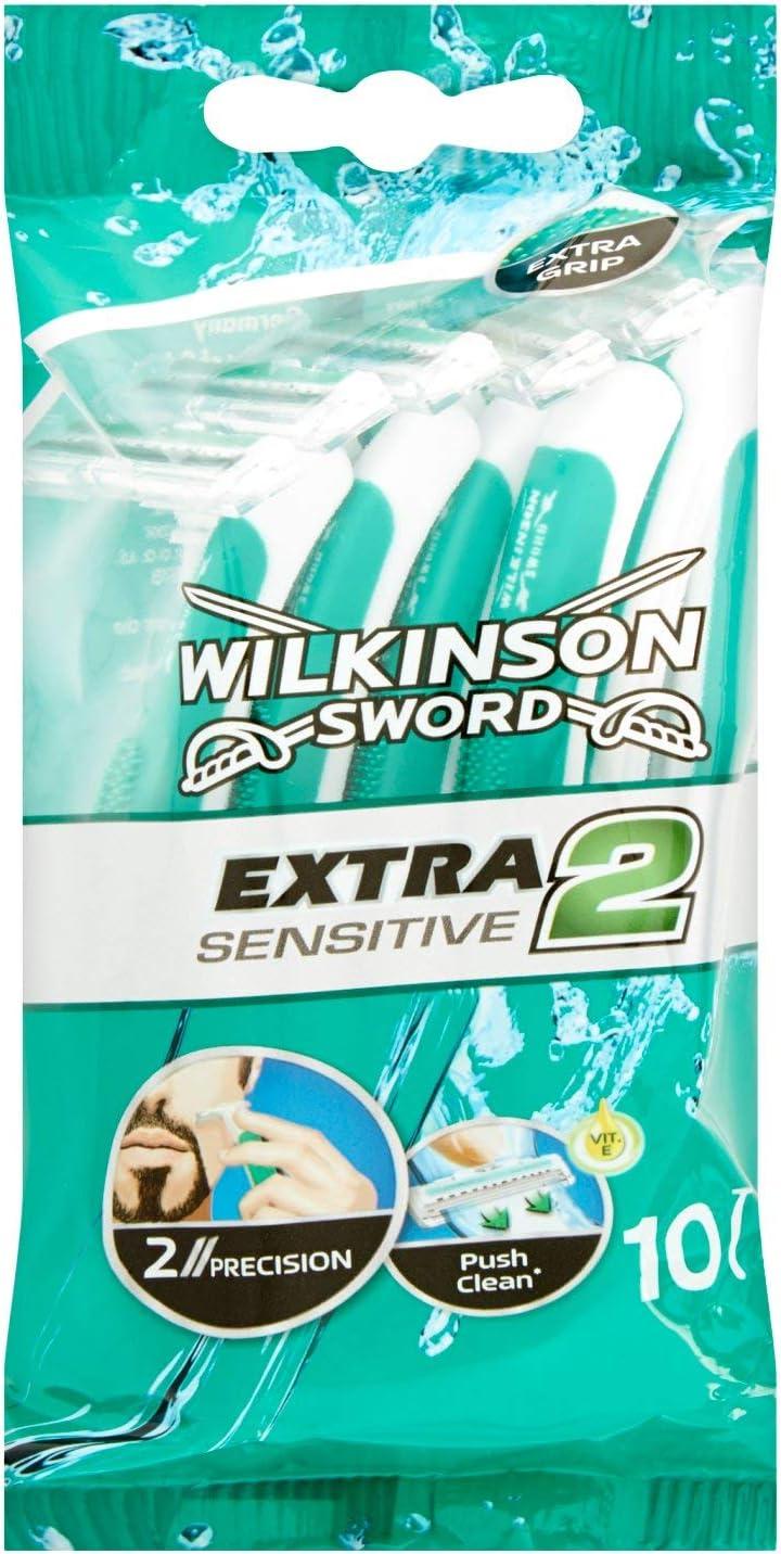 Wilkinson Sword Extra 2 Sensitive - Pack de Cuchillas de Afeitar Desechables de 2 Hojas para Hombre, Afeitado Manual Masculino, 10 Unidades