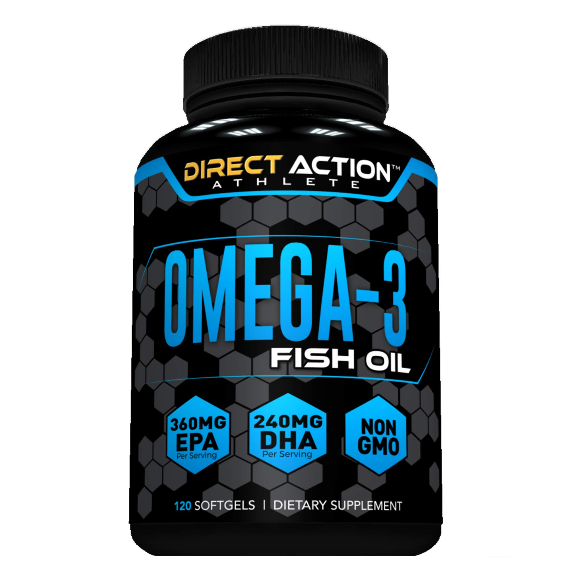 Omega 3 Fish Oil, Non-GMO, 360mg EPA, 240mg DHA per serving, GMP-Certified, 120 Counts by Direct Action Athlete