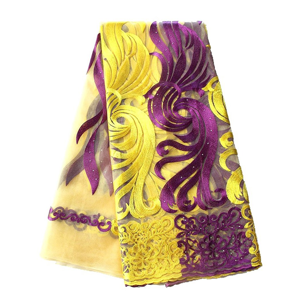 pqdaysun 5 Yards African Net Lace Fabrics Nigerian French Fabric Embroidered and Rhinestones Guipure Cord Lace F50378 (Yellow Purple) by pqdaysun (Image #2)