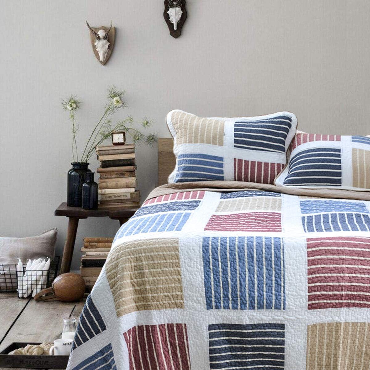 Reversible Coverlet Bedspread for Girls//Boy//Men//Women,Queen Size 3 Piece Satbuy Quilt Bedding Set Blue Pink Beige Plaid Striped Patchwork 100/% Cotton