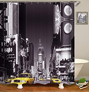 ColorPapa City Decorative Shower Curtain Grey Modern Buliding and Sky with Yellow Taxi New York Style Waterproof Polyester Fabric Bath Curtain with 12pcs Hooks